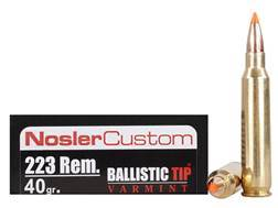 Nosler Trophy Grade Ammunition 223 Remington 40 Grain Ballistic Tip Varmint Spitzer Box of 20