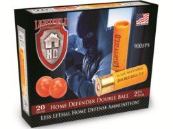 "Lightfield Home Defender Less Lethal Ammunition 20 Gauge 2-3/4"" Double Rubber Balls Box of 5"