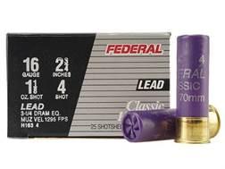 """Federal Game-Shok Hi-Brass Ammunition 16 Gauge 2-3/4"""" 1-1/8 oz #4 Shot Box of 25"""