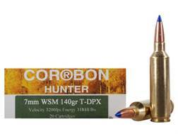 Cor-Bon DPX Hunter Ammunition 7mm Winchester Short Magnum (WSM) 140 Grain Tipped DPX Lead-Free Box of 20