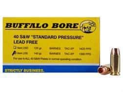 Buffalo Bore Ammunition 40 S&W 140 Grain Barnes TAC-XP Hollow Point Lead-Free Box of 20