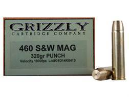Grizzly Ammunition 460 S&W Magnum 320 Grain PUNCH Flat Nose Lead-Free Box of 20
