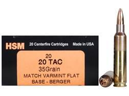 HSM Varmint Gold Ammunition 20 Tactical 35 Grain Berger Varmint Hollow Point Flat Base Box of 20