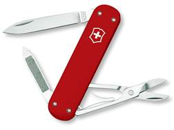 Victorinox Swiss Army Money Clip Folding Pocket Knife 5 Function Stainless Steel Blade Polymer Handle Red