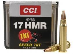 CCI Ammunition 17 Hornady Magnum Rimfire (HMR) 17 Grain Speer TNT Jacketed Hollow Point Case of 500 (10 Boxes of 50)