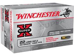 Winchester Super-X Ammunition 22 Long Rifle 40 Grain Lead Truncated Cone Hollow Point Subsonic Box of 500  (10 Boxes of 50)
