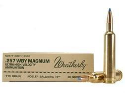 Weatherby Ammunition 257 Weatherby Magnum 115 Grain Nosler Ballistic Tip Box of 20