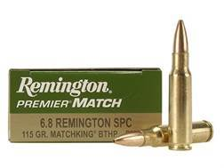 Remington Premier Match Ammunition 6.8mm Remington SPC 115 Grain Sierra MatchKing Hollow Point