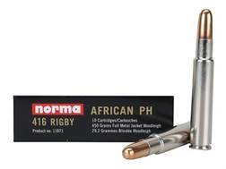 Norma African PH Ammunition 416 Rigby 450 Grain Woodleigh Full Metal Jacket Box of 10