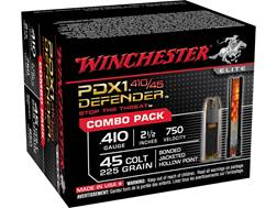 "Winchester Defender Ammunition Combo Pack 45 Colt (Long Colt) 225 Grain Bonded PDX1 Jacketed Hollow Point and 410 Bore 2-1/2"" 3 Disks over 1/4 oz BB Box of 20 (10 Rounds of Each)"