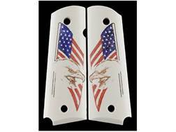 Hogue Grips 1911 Government, Commander Ivory Polymer Eagle with Flag Pattern