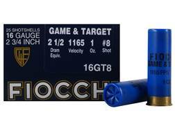 "Fiocchi Game & Target Ammunition 16 Gauge 2-3/4"" 1 oz #8 Shot"