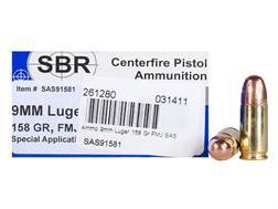 SBR Special Application Subsonic (SAS) Ammunition 9mm Luger 158 Grain Full Metal Jacket Box of 50