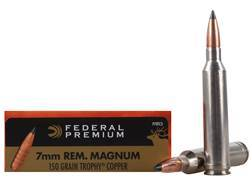 Federal Premium Vital-Shok Ammunition 7mm Remington Magnum 150 Grain Trophy Copper Tipped Boat Tail Lead-Free Box of 20