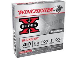 "Winchester Super-X Ammunition 410 Bore 2-1/2"" 000 Buckshot 3 Pellets Box of 5"