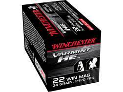 Winchester Ammunition 22 Winchester Magnum Rimfire (WMR) 34 Grain Jacketed Hollow Point Box of 500 (10 Boxes of 50)