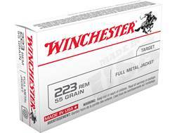 Winchester USA Ammunition 223 Remington 55 Grain Full Metal Jacket Box of 20