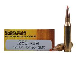 Black Hills Gold Ammunition 260 Remington 120 Grain Hornady GMX Lead-Free Box of 20