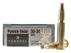 Federal Power-Shok Ammunition 30-30 Winchester 170 Grain Round Nose Soft Point Box of 20