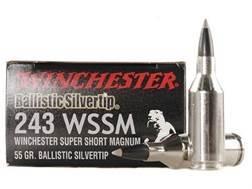 Winchester Supreme Ammunition 243 Winchester Super Short Magnum (WSSM) 55 Grain Ballistic Silvertip
