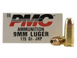 PMC Bronze Ammunition 9mm Luger 115 Grain Jacketed Hollow Point Box of 50