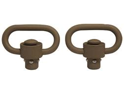 "GrovTec Heavy Duty Push Button Quick Detach Sling Swivel 1-1/4"" Steel Package of 2 CERAKOTE Flat Dark Earth"