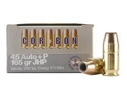 Cor-Bon Self-Defense Ammunition 45 ACP +P 165 Grain Jacketed Hollow Point Box of 20