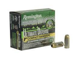 Remington Ultimate Defense Compact Handgun Ammunition 380 ACP 102 Grain Brass Jacketed Hollow Point Box of 20