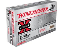 Winchester Super-X Ammunition 243 Winchester 80 Grain Pointed Soft Point Case of 200 (10 Boxes of 20)