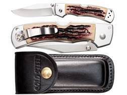 "Cold Steel Mackinac Hunter Thumb Stud Folding Knife with Sheath 3-1/2"" AUS 8A Stainless Steel Blade Faux Stag Handle"