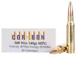 Cor-Bon Ammunition 308 Winchester 140 Grain Barnes Multi-Purpose Green (MPG) Hollow Point Lead-Free Box of 20