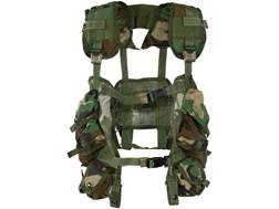 Military Surplus Load Bearing Vest (LBV) Holds 4 AR-15 30 Round Magazine and 2 Grenades Nylon Woodland Camouflage
