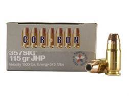 Cor-Bon Self-Defense Ammunition 357 Sig 115 Grain Jacketed Hollow Point Box of 20
