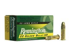 Remington Golden Bullet Ammunition 22 Long Rifle 36 Grain Plated Lead Hollow Point