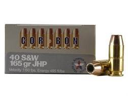 Cor-Bon Self-Defense Ammunition 40 S&W 165 Grain Jacketed Hollow Point Box of 20