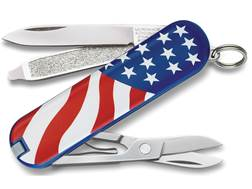 Victorinox Swiss Army Classic SD Folding Pocket Knife 7 Function Stainless Steel Blade Polymer Handle U.S. Flag