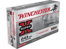 Winchester Super-X Ammunition 243 Winchester 100 Grain Power-Point
