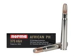 Norma African PH Ammunition 375 H&H Magnum 350 Grain Woodleigh Weldcore Soft Nose Box of 10