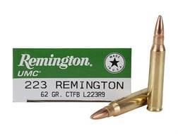 Remington UMC Ammunition 223 Remington 62 Grain Closed Tip Flat Base Box of 20