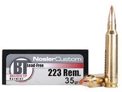 Nosler Trophy Grade Ammunition 223 Remington 35 Grain Ballistic Tip Varmint Lead-Free Box of 20