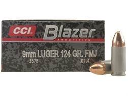CCI Blazer Ammunition 9mm Luger 124 Grain Full Metal Jacket Box of 50