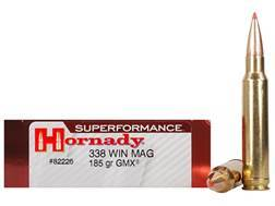 Hornady SUPERFORMANCE Ammunition 338 Winchester Magnum 185 Grain GMX Boat Tail Lead-Free Box of 20