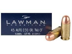 Speer Lawman Cleanfire Ammunition 45 ACP 230 Grain Total Metal Jacket Box of 50
