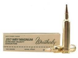 Weatherby Ammunition 257 Weatherby Magnum 100 Grain Hornady InterLock Spire Point Box of 20