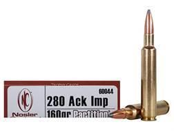 Nosler Trophy Grade Ammunition 280 Remington Ackley Improved 160 Grain Partition Spitzer Box of 20