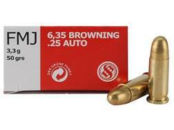 Sellier & Bellot Ammunition 25 ACP 50 Grain Full Metal Jacket Box of 50