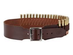 "Hunter Cartridge Belt 2-1/2"" 45 Caliber Straight Wall Rifle 25 Loops Leather Antique Brown Large"