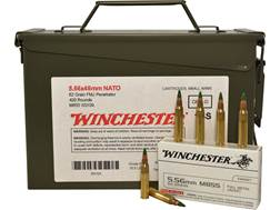 Winchester Ammunition 5.56x45mm NATO 62 Grain M855 SS109 Penetrator Full Metal Jacket Ammo Can of...
