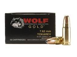 Wolf Gold Ammunition 7.62x25mm Tokarev 85 Grain Jacketed Hollow Point Box of 50
