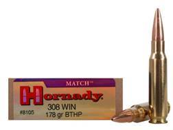 Hornady Match Ammunition 308 Winchester 178 Grain Boat Tail Hollow Point Box of 20